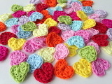 ^ Crocheted hearts