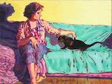 Dominique Amendola, Mimi petting the cat,