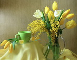 Flowers, cup, tulips, pitcher, still life, candy, yellow