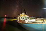 Boat docked Manns Harbor Milky Way