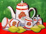 Still Life - Coffee Pot - oil pastel by Juanita Mulder
