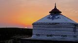 Yurt at sunset