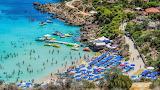 Beautiful crowded beach on the island of Cyprus