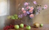 Flowers, berries, apples, bouquet, fruit, basket, vase, window,