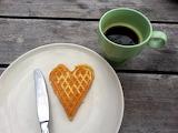 Heart waffle breakfast love