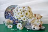 Glass, chamomile, bouquet, plate, still life, chrysanthemum, swe