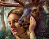 fantasy, girl, deer