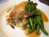 ^ Roasted chicken, Moroccan cous cous, green beans