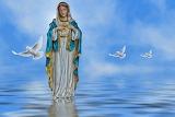 Mother Mary-doves-bird-water-sky-religion-faith