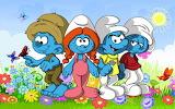 The-Smurfs-Smurfette-spring-meadow-flowers-butterflies-