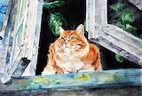 Cats Painting Art Elenashved watercolor Window 566329 1280x863