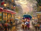 Mickey & Minnie in Paris ~ ThomasKinkade
