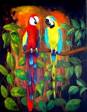 Two funny parrots