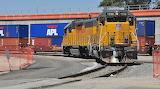 Diesel loco in freight depot