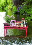 Table by waterfall