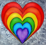 Rainbow heart in gray