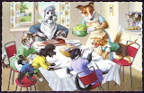 Cats & Dogs Having Lunch~ AlfredMainzer