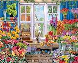 Flower shop, window, cat, bicycle, cash register, Jigsaw Puzzle