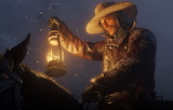 Cowboy, snow, horse, hat, lantern, Rockstar, Bandit, Red Dead Re