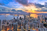 Sunrise Hong Kong skyline