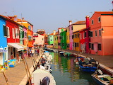 Colorful row houses in Italy