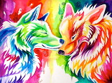 two rainbow wolves