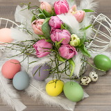 Flowers, feathers, Easter eggs