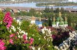 Bridge, spring, panorama, temple, lilac, Kiev, Dnepr, flowers, t
