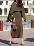She's Olive Green Crew Neck Long Sleeve Slit Solid Maxi Dress