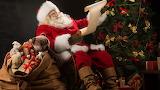 Santa claus - snow - christmas - gifts - tree - bear