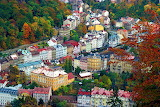 Karlovy Vary, colored houses, Cz