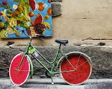 Bicycle with watermelon wheels