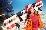 Girl-snowboard-jacket-hat-woman-sport