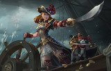 lady pirate with dog