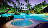 Luxury tropical Pool at dusk