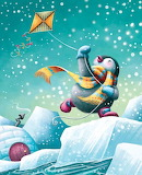 Penguin flying a kite in the snow