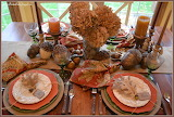 ^ Fall table setting with dried hydrangeas