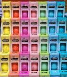 Rainbow array of golf balls