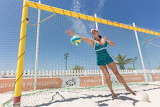 Girl-woman-ball-beach-sand-sport-goal