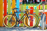 Bicycles, colorful fence, playground, children