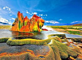Colorful Fly Geyser Northern Nevada USA