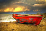 Red boat, sea, beach, sand, stormy clouds