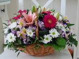 Flowers, Basket, Bouquet, Gerbera, Chrysanthemum, Lily
