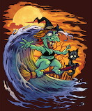 Halloween Witch Surfing