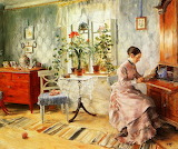 Carl Larsson, An Interior with a Woman Reading, 1885