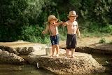 Summer, nature, children, river, stones, fishing, bucket, fisher
