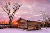 Cabins - Winter sunrise in a cozy cabin