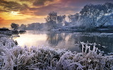 River Avon in winter. Worcestershire. England