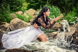 Girl, joy, squirt, river, nature, water