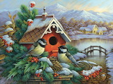Oleg Gavrilov 'Red Birdhouse and Chickadees'